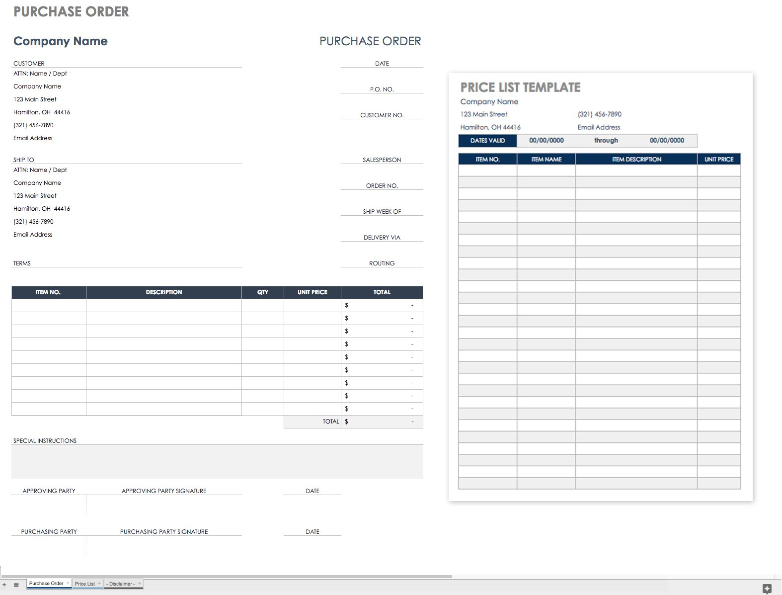 Purchase Order Template Ideas Business Template Ideas