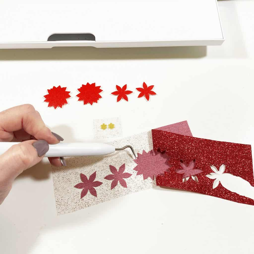 weeding glitter heat transfer vinyl shapes