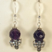Amethyst and Butterfly Earrings