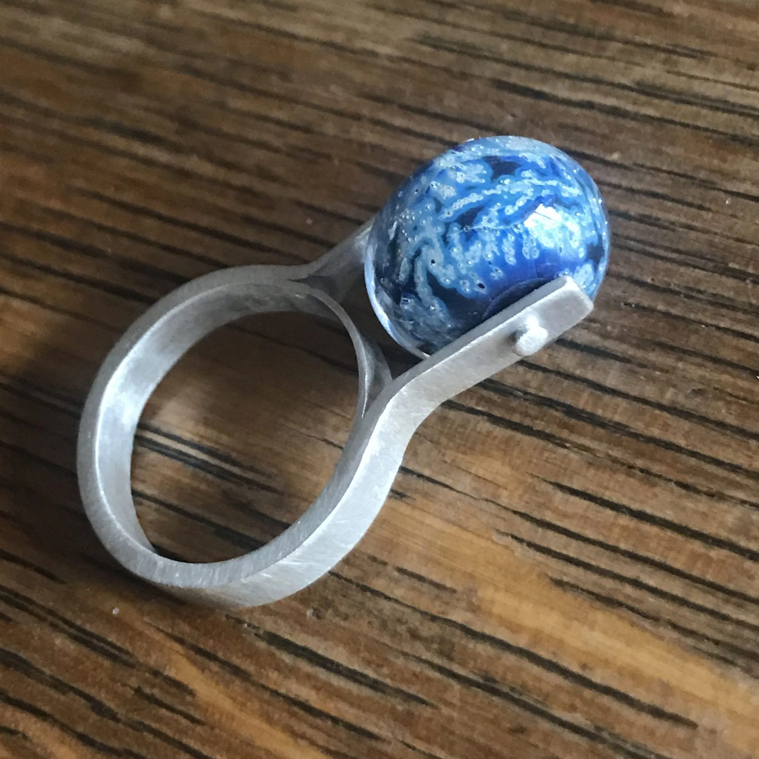 Sterling Ring with Glass Bead