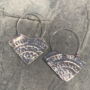 Hammered Brass on Sterling Hoops