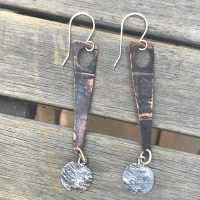 Long Copper and Sterling Earrings