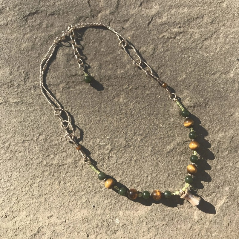 Jade, Tiger Eye and Peridot Necklace