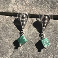 Green Tourmaline Cube Earrings