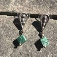 Green Tourmaline Cube Earrings