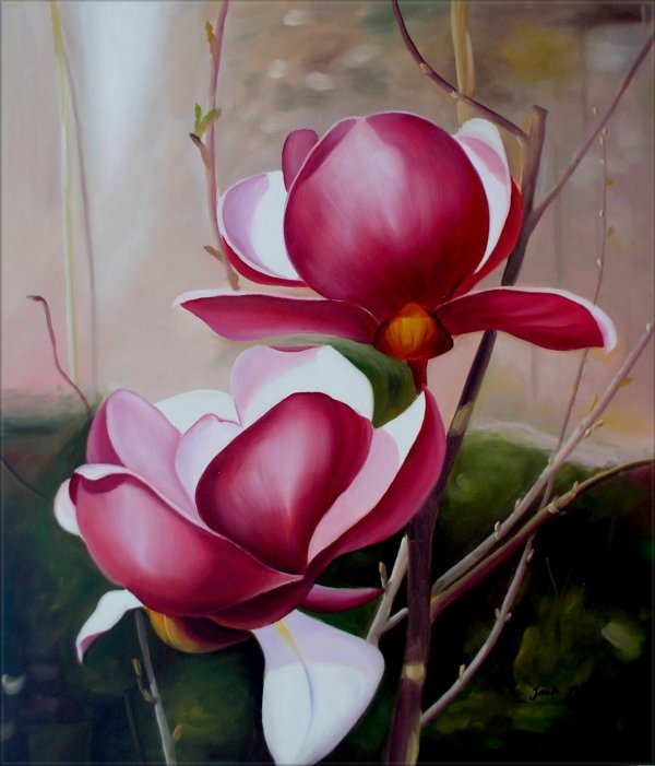 Red Magnolias Quality Original Hand Painted Oil Painting 20x24in