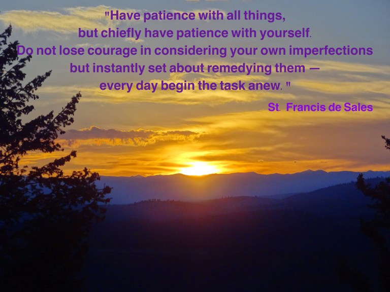 Have patience with all things. St. Francis de Sales