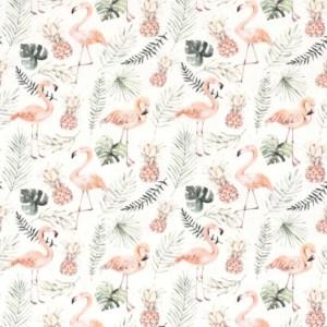 Tricot - digitaal bedrukt ananas & flamingo