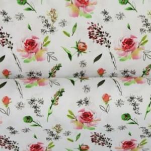 Tricot - digital print Pink Flower Wit