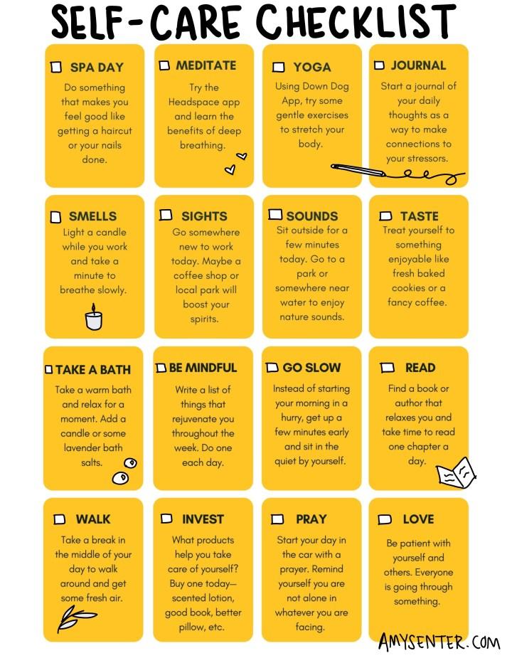 Daily self care checklist