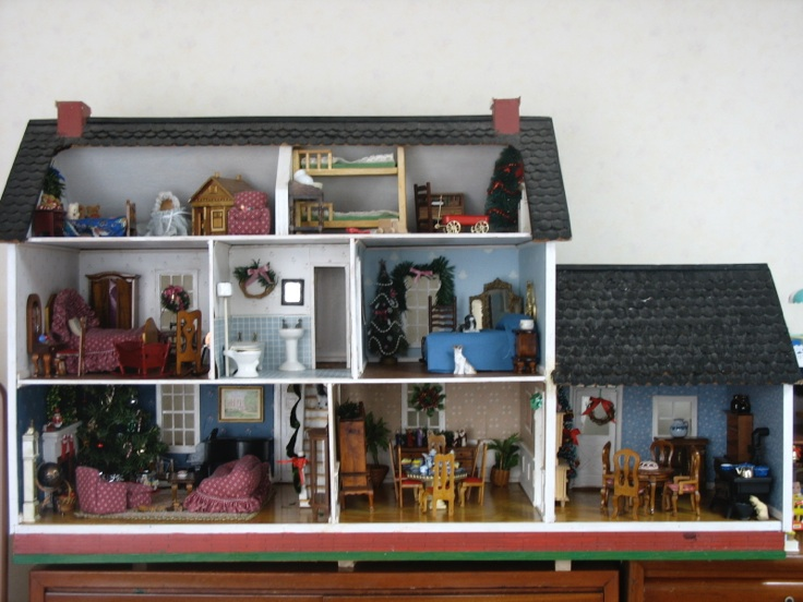 Miniature House Decorated For Christmas