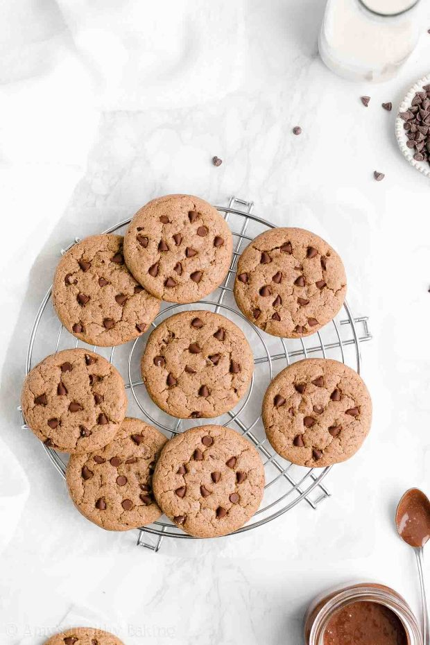 Easy Healthy Flourless No Egg Chewy Nutella Chocolate Chip Cookies