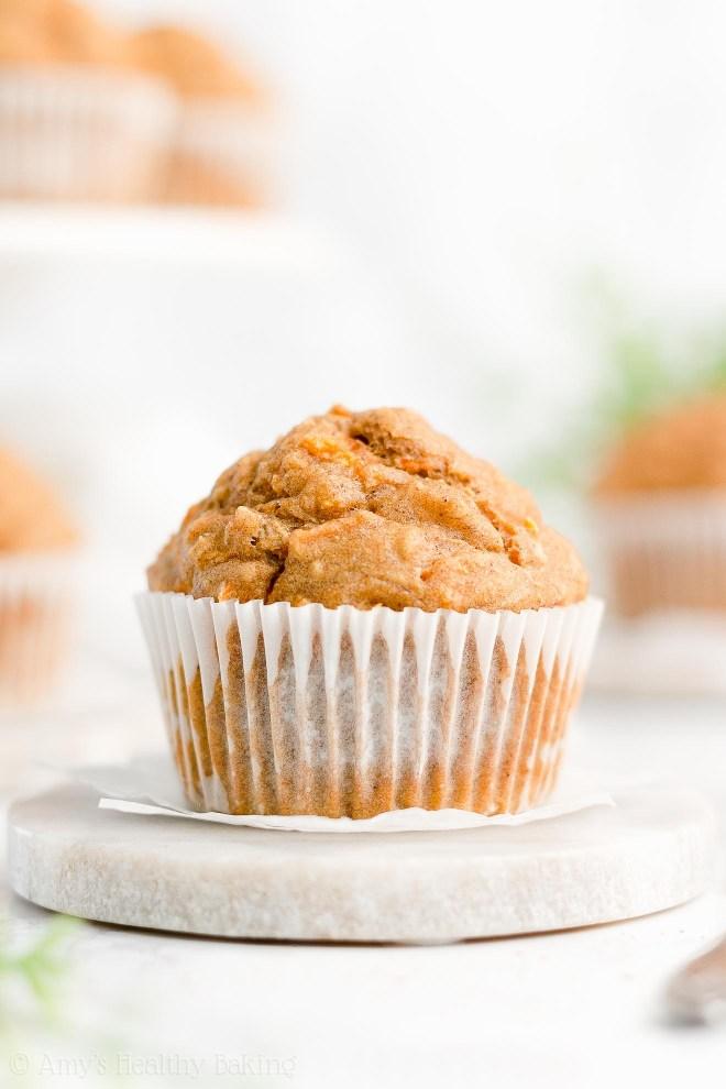 Best Easy Healthy Low Calorie Gluten Free Moist Carrot Cake Oatmeal Muffins
