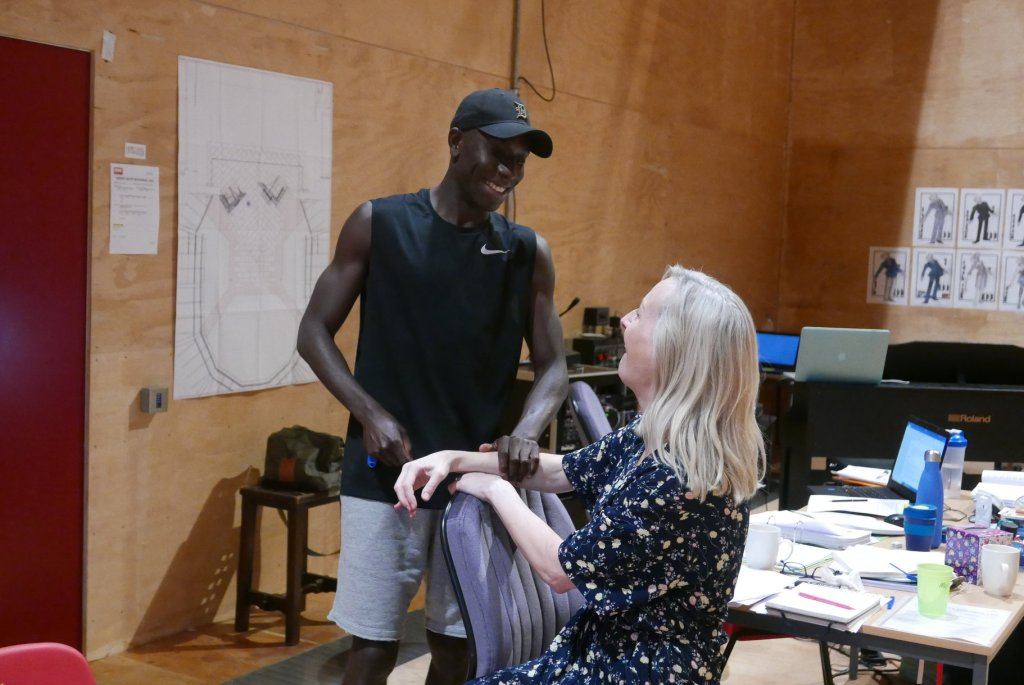 Afolabi Alli and Fiona Laird in rehearsals for The Merry Wives of Windsor.