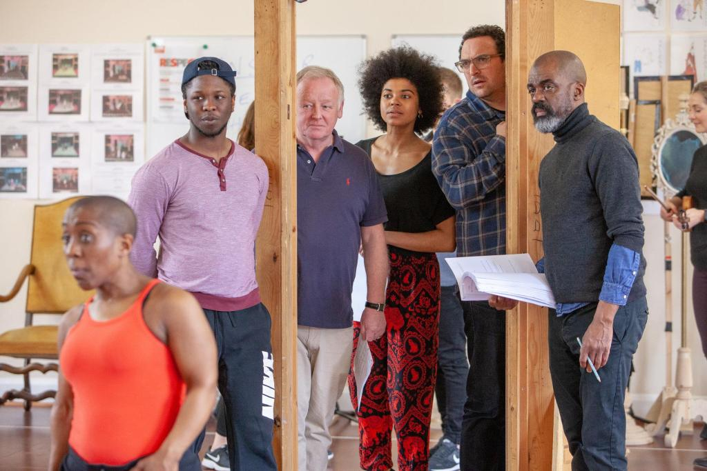 The cast of The RSC's The Provoked Wife in rehearsals