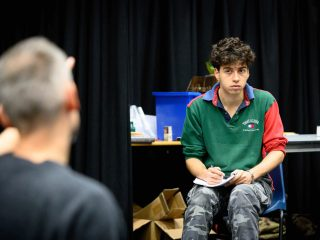 Jack Ryder and Adonis Jenieco in rehearsal for The History Boys 7 - 22 February. Photo by Graeme Braidwood