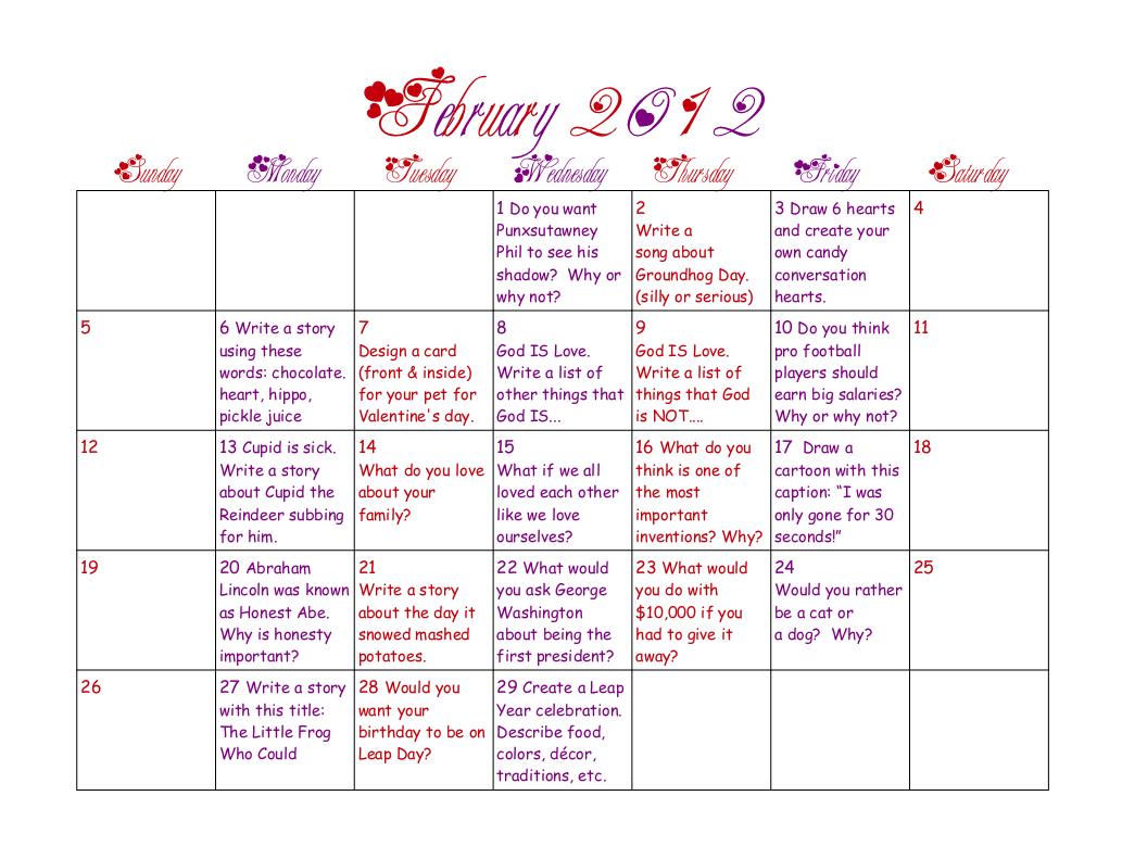 February Writing Prompt Calendar