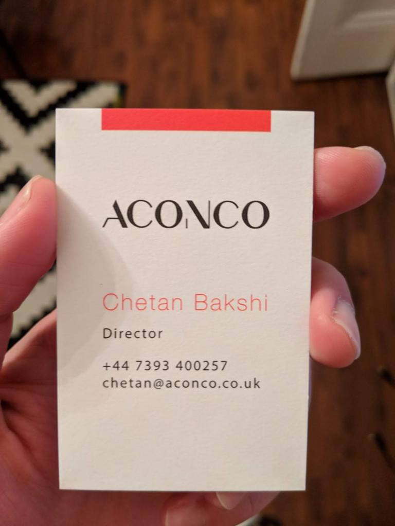 Aconco Engineering's beautiful branded business cards.