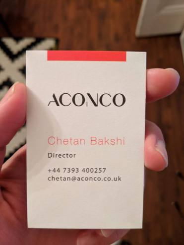 ACONCO business card design - branding by amyth and amit