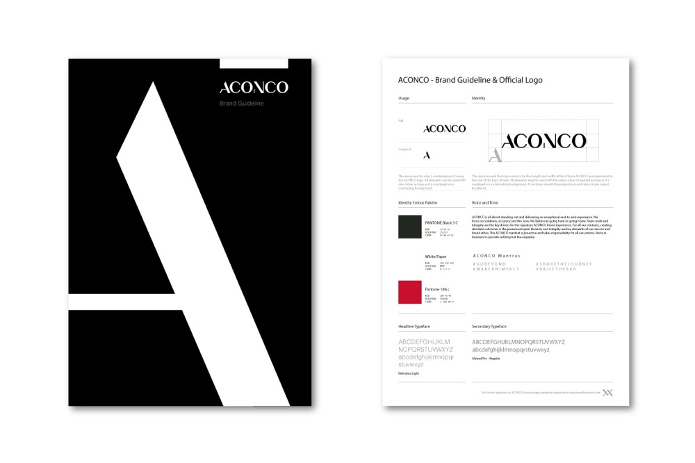 ACONCO Engineering's branding guideline designed and produced by Amyth and Amit