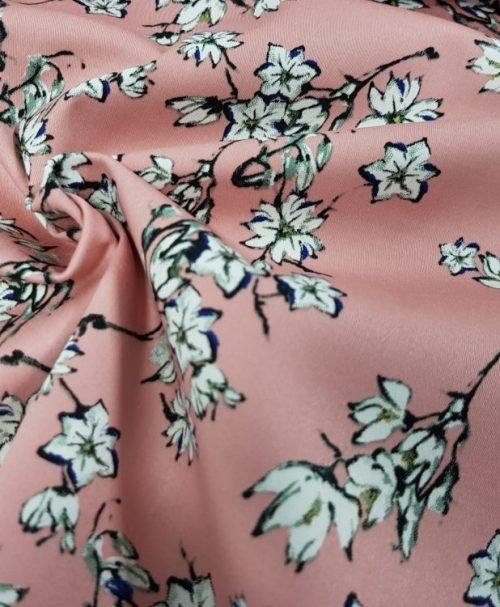 Baumwoll-Stretch-Satin Kirschblüten altrosa