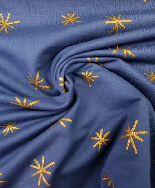 Sommersweat Sparkle dunkelblau gold glitter