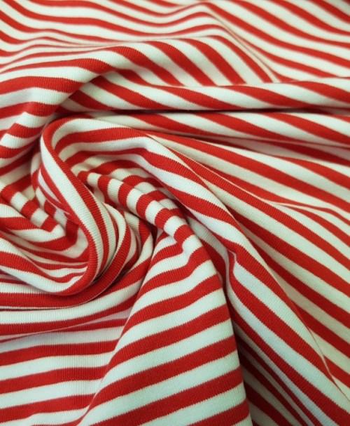 Reststück 1,2m 14,40€ Jersey Ringel weiß/rot