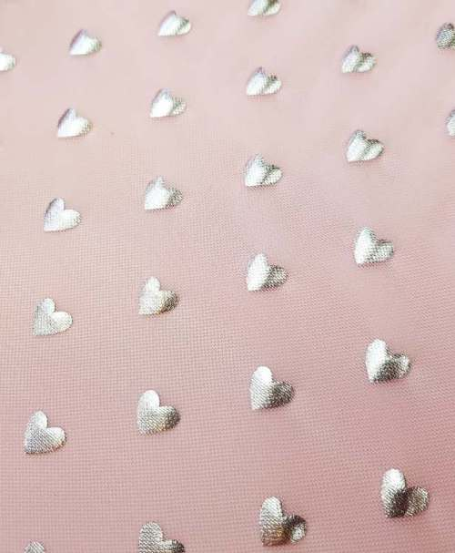 Mesh silver hearts pink