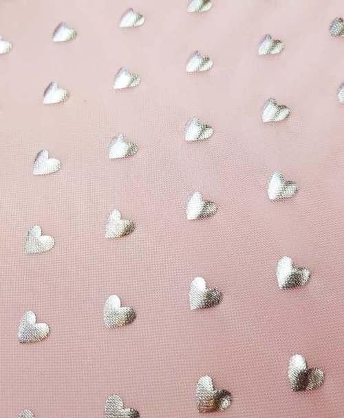 Mesh silver hearts pink
