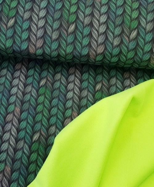 Softshell Zopfmuster dunkelgrün/neongrün