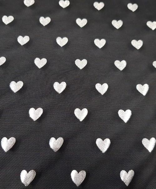 Mesh silver hearts schwarz