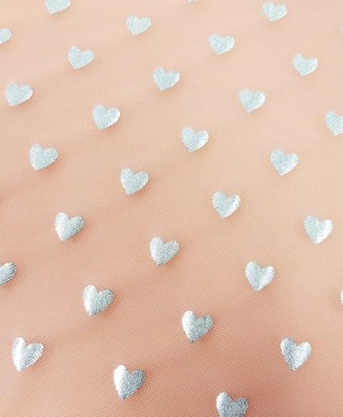 Mesh silver hearts peach