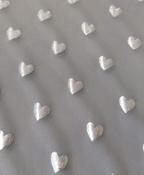 Mesh silver hearts silbergrau