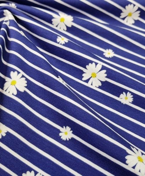 Fräulein von Julie Jersey Gänseblümchen Streifen marineblau