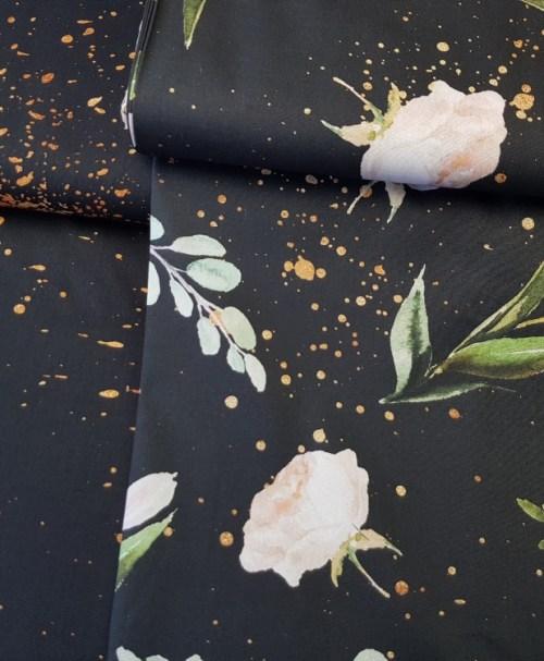 Baumwolle Webware Kim – Blumen und Goldsprenkel schwarz