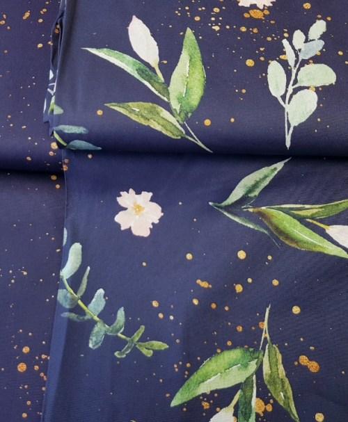 Baumwolle Webware Kim – Blumen und Goldsprenkel marine