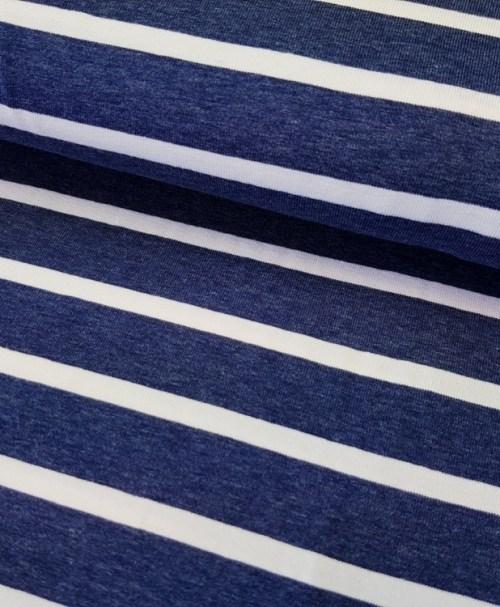 Viskosejersey Benja jeansblau/weiß