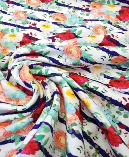 Fräulein von Julie Sommersweat Flowerbouquet Stripes