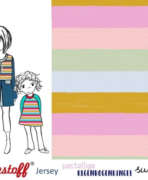 Lillestoff Jersey Regenbogenringel, pastell