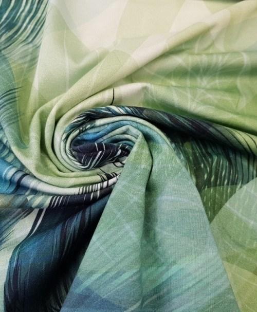 Jersey Panel Federn cremeweiß/blaugrün