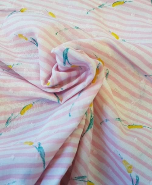 Webware Shirley Tupfen Seegras/Streifen rosa