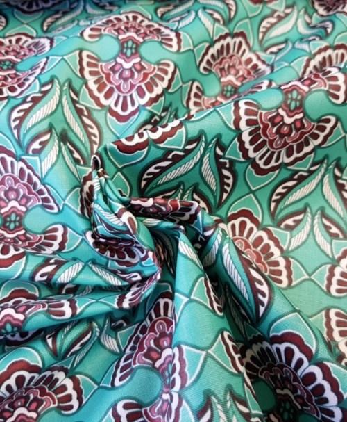 Klaranähta beschichtete Baumwolle florale Fächer mint