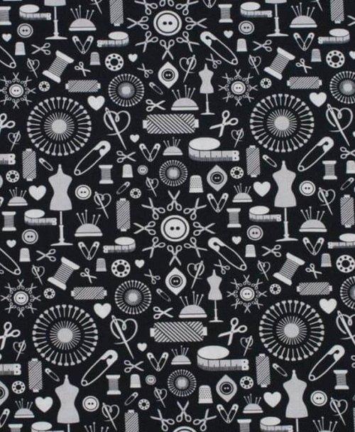 Baumwolle Webware Sew Love, Nähutensilien by lycklig Design, schwarz-grau