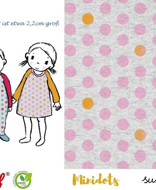 Lillestoff Jersey Minidots, rosa, meliert