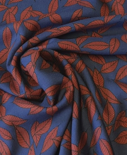 Hilco Viskosetwill Antoinette Blätter blau/rostrot