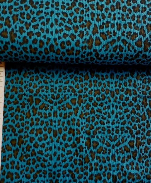 Musselin Leopard petrol