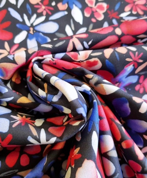 Webware Poplin Petals Flowers navy