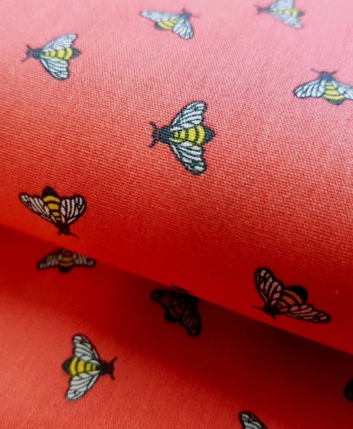 Webware Poplin Dazzling Bees Korallrot
