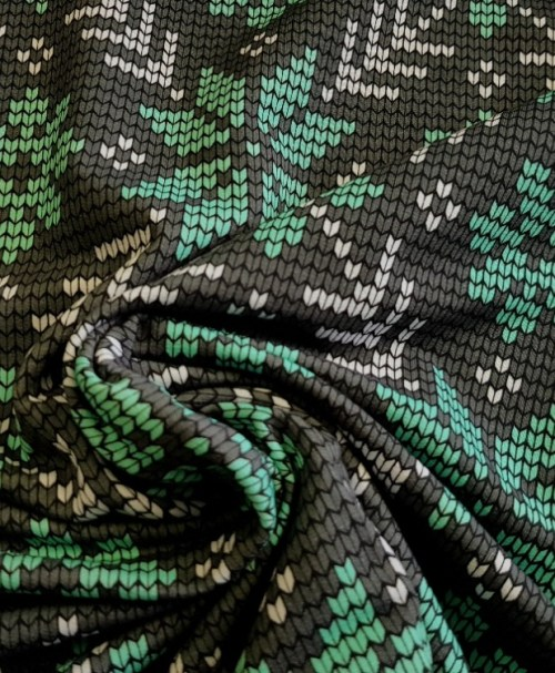 French Terry Knit Norway Schneeflocke mintgrün/grau