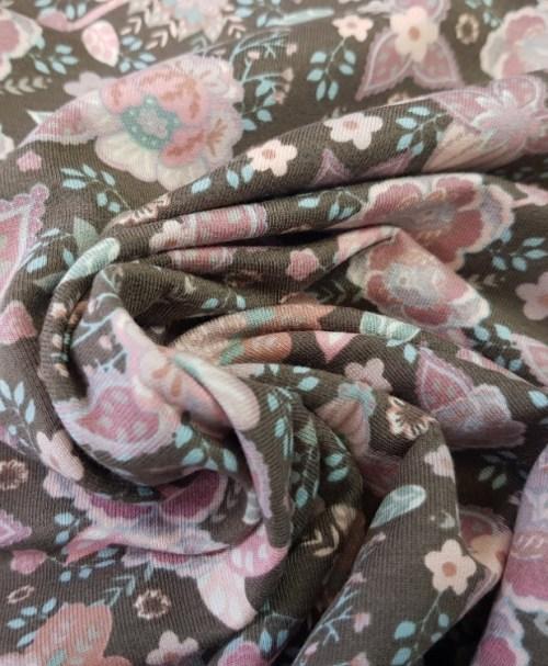 Sommersweat Retro-Rosen taupe/rosa
